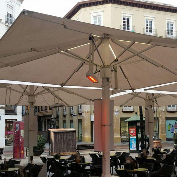 Heliosa 11 suspended under giant parasols